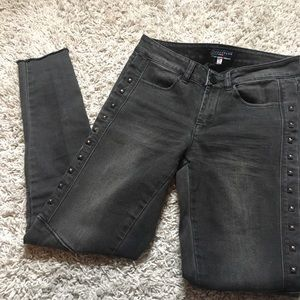 Boom boom black/grey studded moto jeans